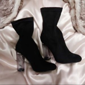 Shoes - Black Boots with Clear Heel